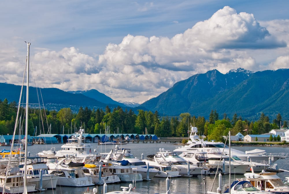 50 Shades- View over Coal Harbor marina and Stanley Park in Downtown of Vancouver, Canada.